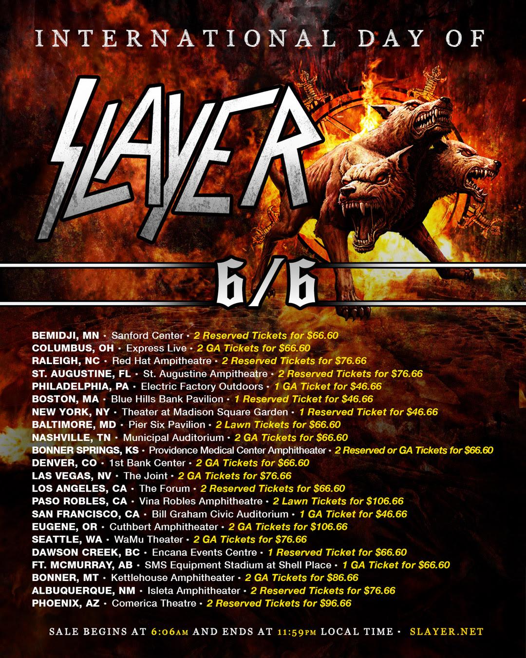 Concert Tour: International Day Of Slayer : News : Slayer Announces Tour